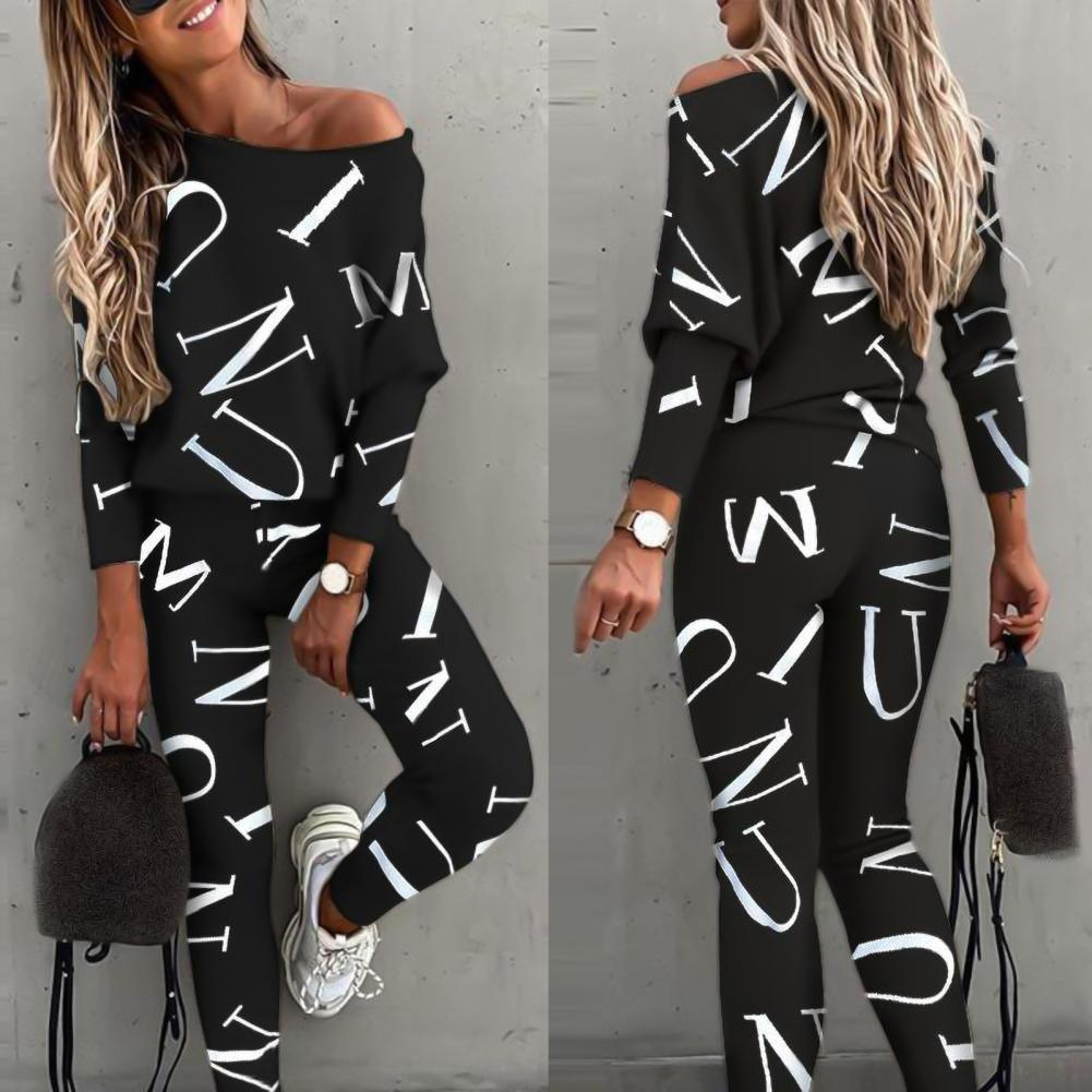 AliExpress - 2021 Casual Outfit Letters Print Long Sleeve Top Spring Women Blouse Pants Tracksuit for Sports Summer Tracksuits 2 pieces sets