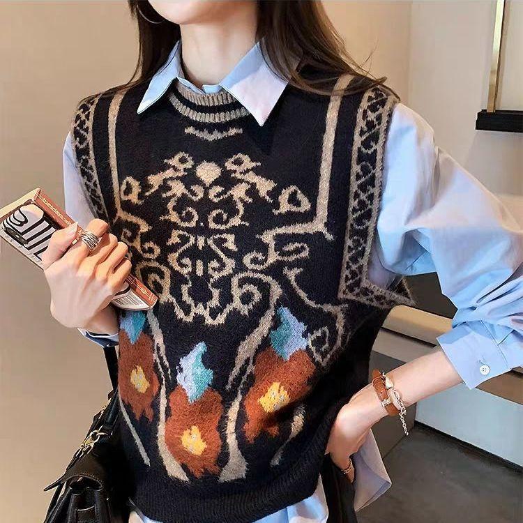 Women Sweater Vest Sleeveless Vintage Y2K Top Autumn Winter Clothes Preppy Style Knitwear Female Chic Fashion Jumper Pullover недорого