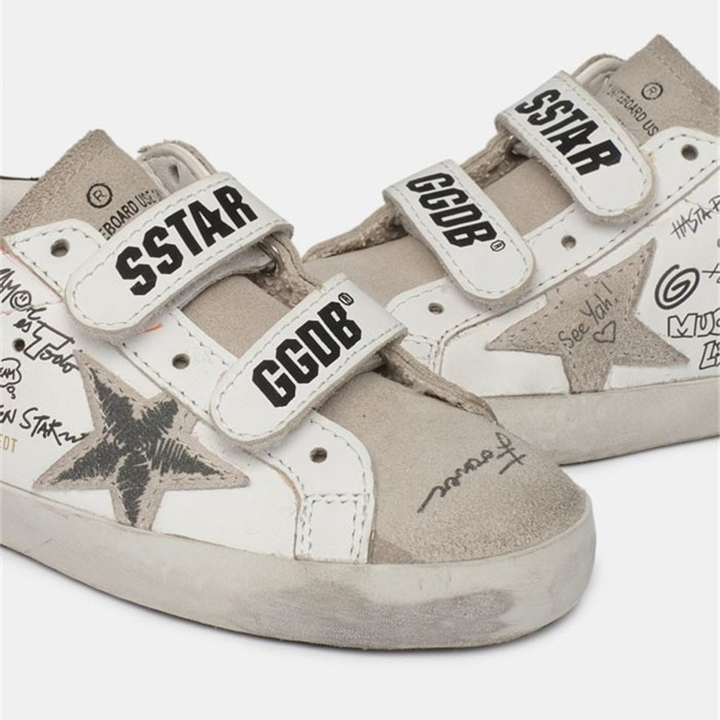 Spring and Summer New First Layer Cowhide Graffiti Children's Old Small Dirty Shoes Boys and Girls Velcro Casual Kids Shoes QZ14 enlarge