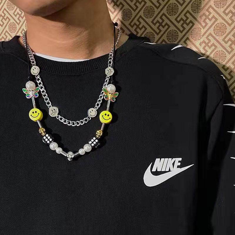 Жемчужное ожерелье с черепом и бабочкой в виде черепа в стиле хип-хоп, уличные танцевальные мужские и женские парные жемчужные ожерелья со смайликом