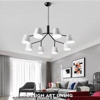 3/6/8/10 Heads Loft Italy Designer Led Chandelier Modern Romantic Mater Room White Wrought Iron Dinner Lamp Free Shipping