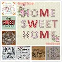 Peinture diamant theme  sweet home   broderie complete 5d  perles carrees ou rondes  decoration populaire pour la maison