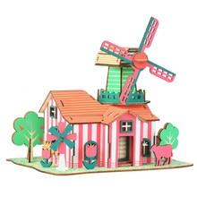 Tulipes Ranch bricolage 3D en bois Puzzle Woodcraft Kit dassemblage coupe bois jouets pour noël cadeau 3169