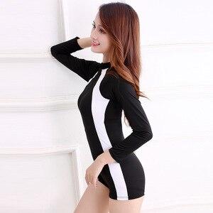 One-Piece Women's Swimsuit Long Short Sleeve Bathing Bodysuit Lady Sports Black Elasticity Swimwear with Zipper Surf Suit