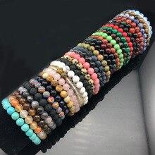 Joli Chakra Bracelet perlé hommes 8mm pierre naturelle lave oeil de tigre mat noir Onyx perles de guérison extensible charme Yoga femmes bijoux