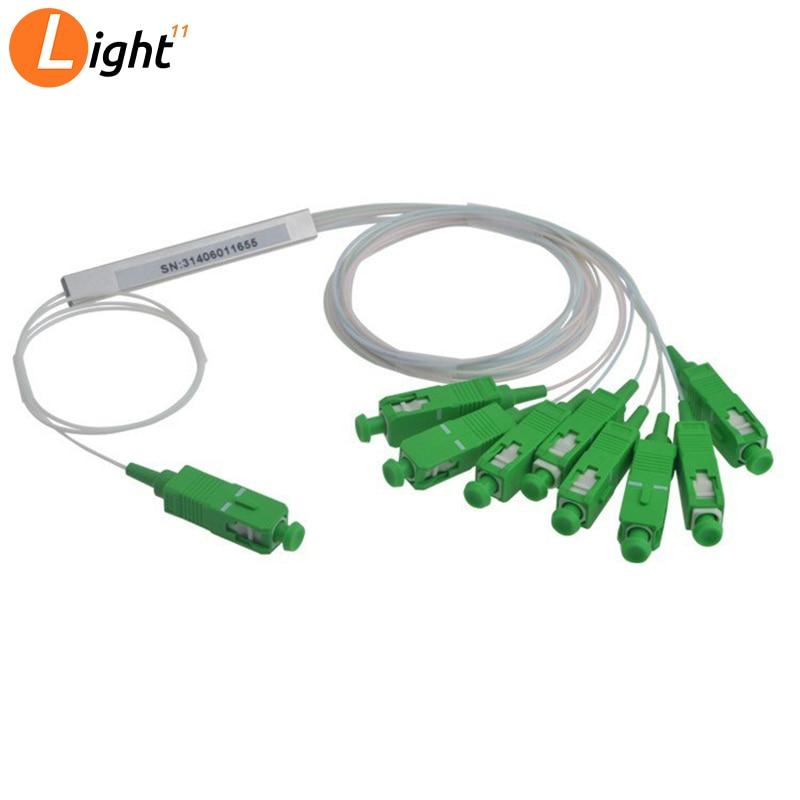 5 unids/lote PLC divisor óptico SC APC FTTH divisor de fibra óptica acoplador óptico monomodo simple Micro tubo de acero