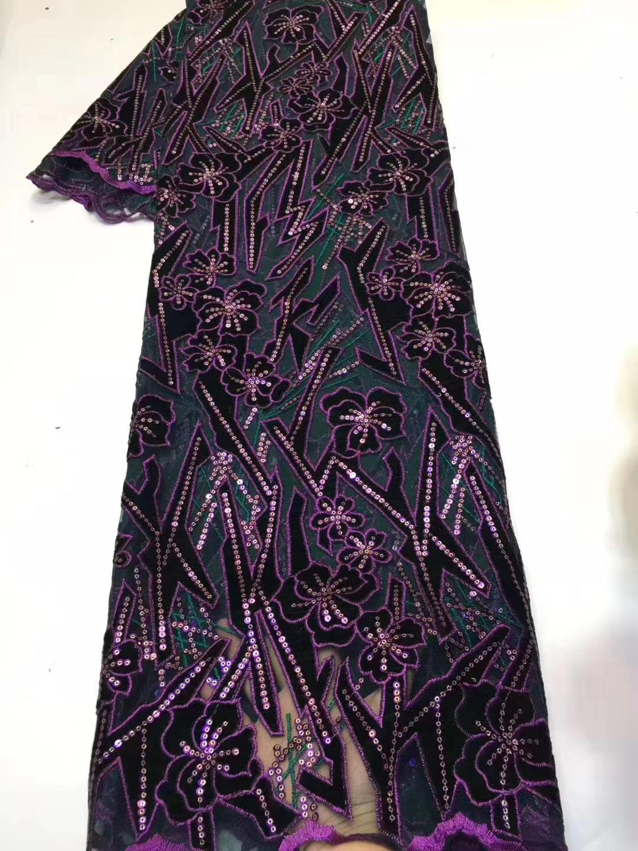 Moda Flor de lentejuelas tela de encaje de franela tul francés encaje africano tela de encaje falda noche diseño de vestir tela