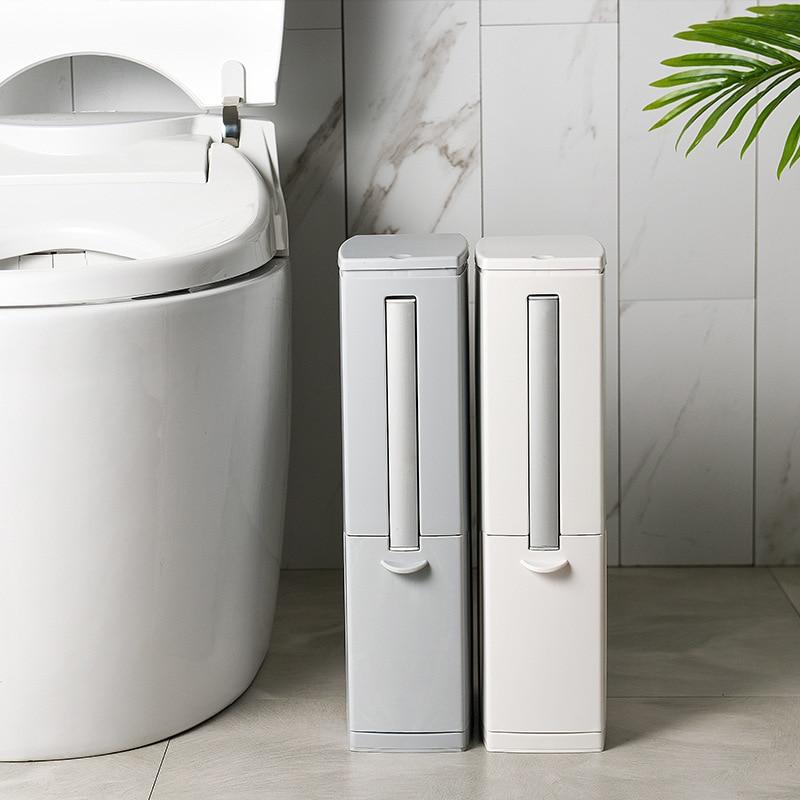 Narrow Trash Can Toilet Brush Set Bathroom Plastic Waste Bin Dustbin Kitchen Garbage Bucket Trash Bin Household Cleaning Tools