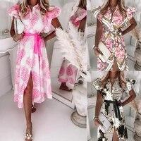 2021autumn ruffle short sleeve v neck button print dress