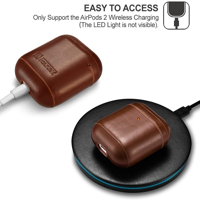 New Protective Bag Luxury Leather Earphone Wireless Headphone Sleeve Cover Case With Hook For Apple Airpods 1 2 Charging Box