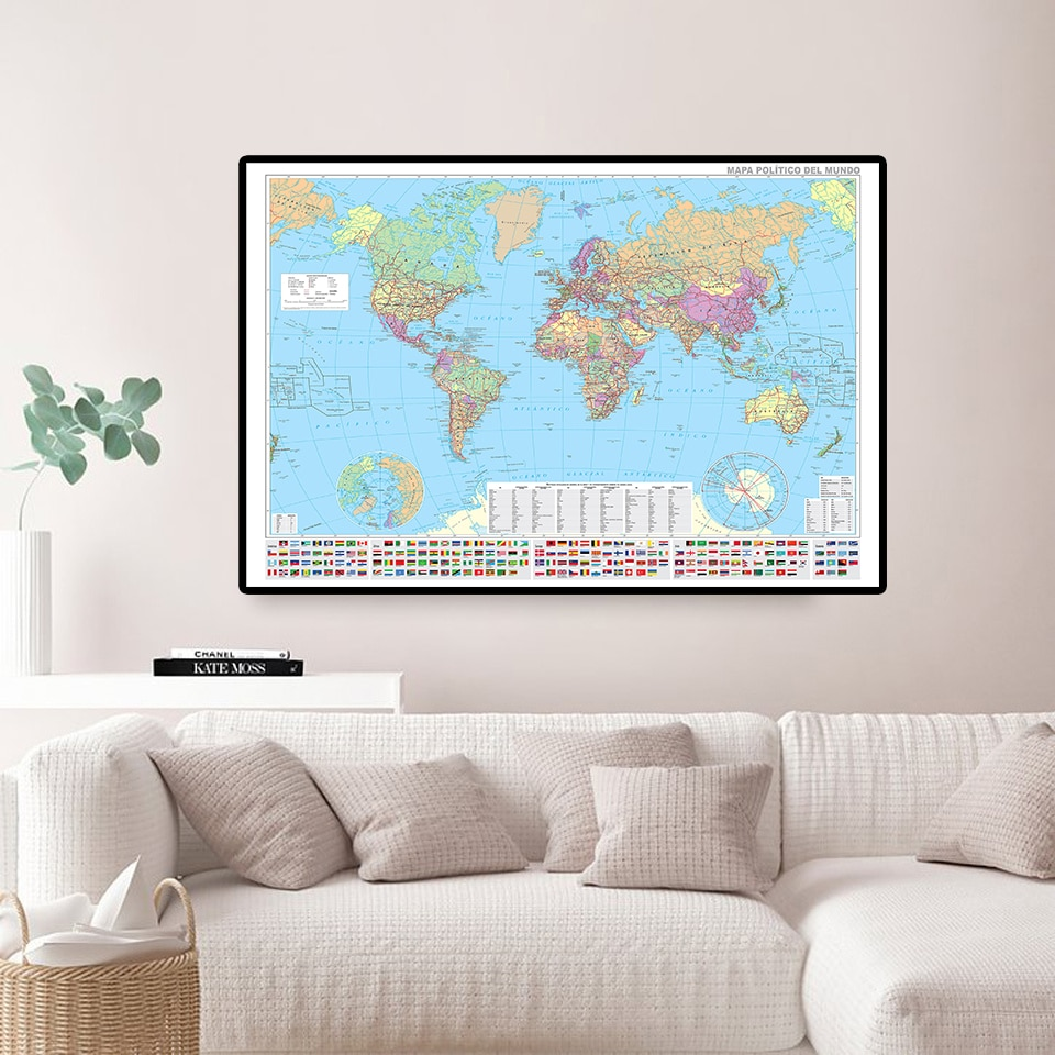 84*59cm The Spanish World Map with National Flags Canvas Painting Wall Poster Living Room Home Decoration Study Supplies