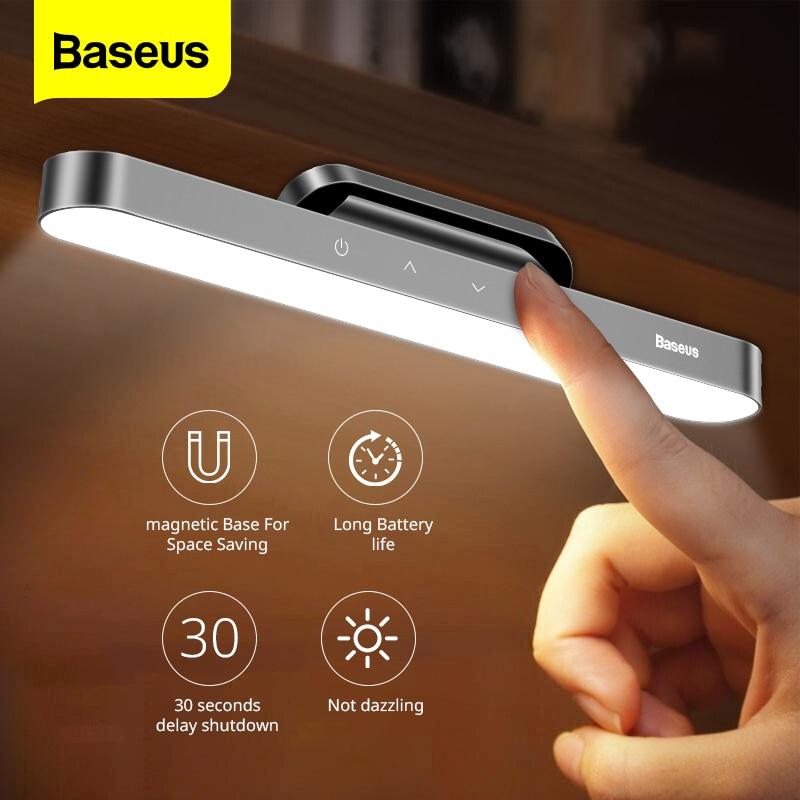 Baseus المغناطيسي لمبة مكتب LED الجدول مصباح معلق لاسلكي اللمس ليلة ضوء لدراسة القراءة مصباح ستبليس يعتم USB ضوء