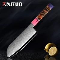 xituo new damascus chef knife santoku knives stainless steel japanese kitchen knife sharp cleaver slicing steak cooking tools
