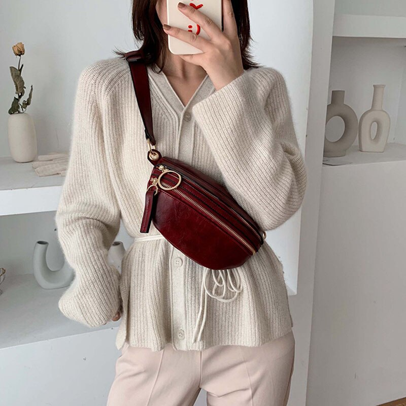 Waist Bag Women 2020 Fashion PU Leather Fanny Pack Travel Chest Belt Bags Mini Small Banana Bum Bag Ladies Chain Belly Bag Purse