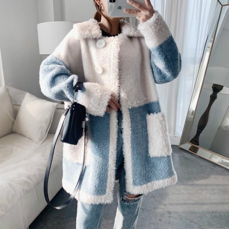 Abrigo de piel auténtica coreana para Mujer, ropa de lana de 100%,...