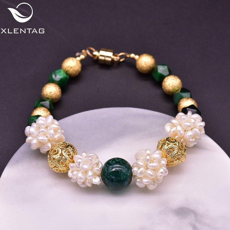 Ágata Natural Ojo de Tigre piedra de agua dulce perla pulsera mujer Retro estilo nacional Original adorno artesanal
