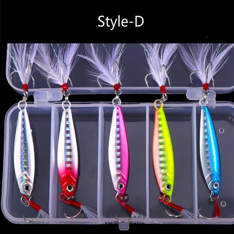 5pcs Metal Sequins Fishing Lure Crankbait Jig Shads Spoon Artificial Baits Wobbler Rotating Bait Sea Lures Pesca Fishing Tools enlarge