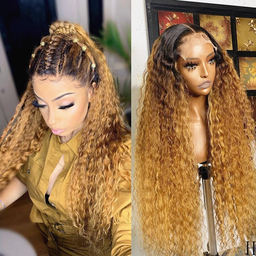 Ombre Colored Kinky Curly Lace Front Human Hair Wigs  Brazilian Virgin Hair With Baby Hair 180 Density