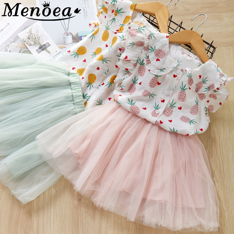 Menoea Girls Dress 2020 New Summer Style Children Short Sleeve Doll Collar Mesh Dress Pineapple Printed Kids Clothes
