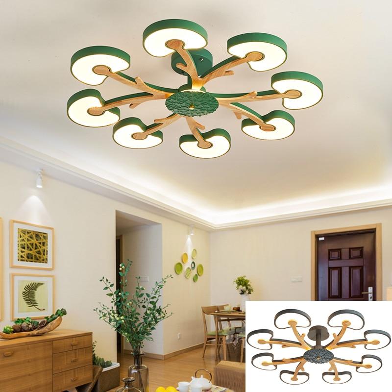 Nordic moderno dimmble árvore lustre na sala de estar quarto conduziu a lâmpada do teto personalidade macaron sala madeira iluminação interior