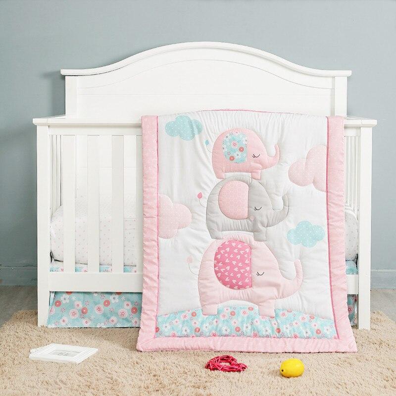 3 قطعة الوردي الأطفال سرير الفراش سرير السرير الكتان سرير مجموعة ل طفلة البنود ل غرفة الديكور (لحاف + شرشف + السرير تنورة)