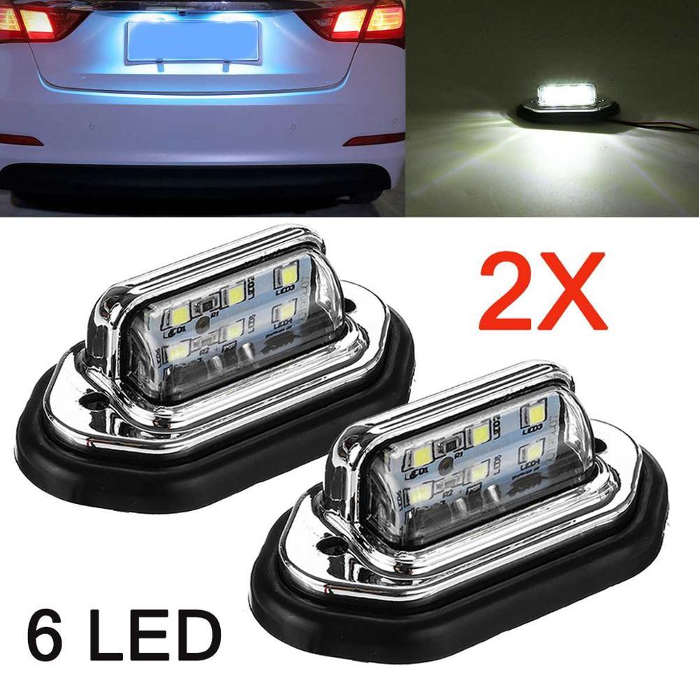 2pcs 12V 24V Waterproof 6 LED Car License Plate Light Signal Tail Light Lamp Boat Truck Trailer SUV VAN Caravan Waterproof