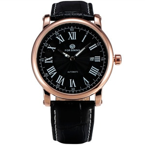 New FORSINING Luxury Men Automatic Watches Rome Auto Date Gold Case Business Mechanical Watch Brown Leather Mens Dress Clock