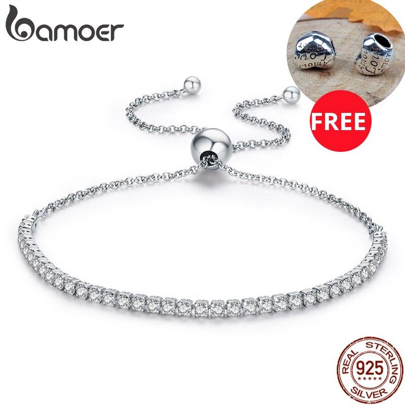 aliexpress.com - BAMOER 925 Sterling Silver Sparkling Strand Bracelet Women Link Tennis Bracelet Silver Jewelry 3 Colors SCB029