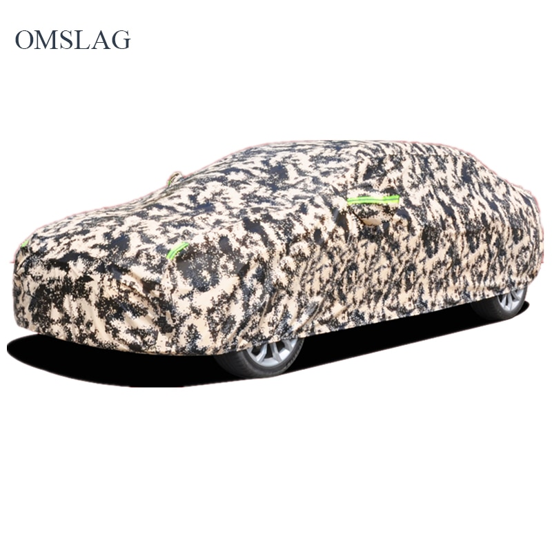 OMSLAG Outdoor Car Covers Sunscreen Waterproof Protection Universal Car Clothing Silver Reflective Stripe for SUV Sedanhatchback