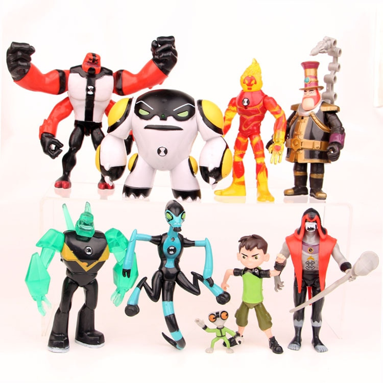 Earth Defender Young Hacker Runs 9pcs/lot  Ben 10 Small Monster Luminous Doll Model Doll Toys