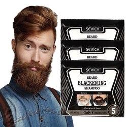Sevich 15ml 1 pçs natural mais rápido preto barba shampoo 5 minutos tintura barba erva shampoo blackening capa preta barba cor tintura