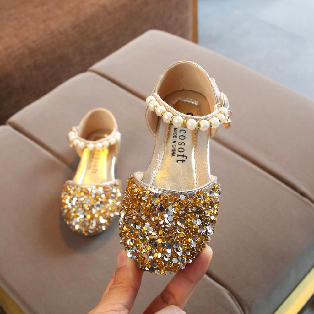 Kids summer sandals crystal princess shoes for little baby Toddler Infant girls pearls bling sequins dance New