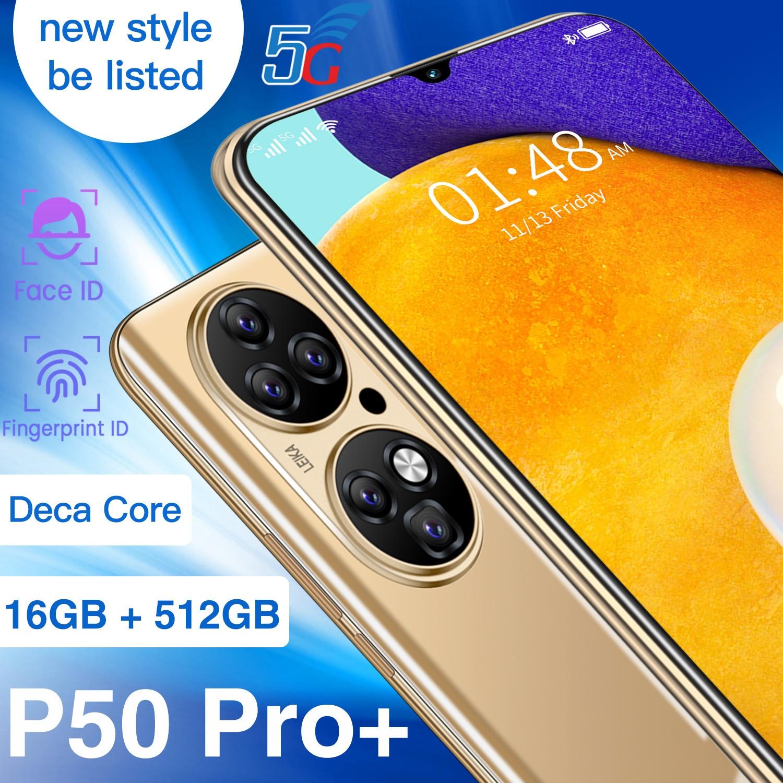 2021 النسخة العالمية الجديدة P50 برو + 6.7 بوصة الهاتف الذكي 16 + 512GB عشاري النواة 6800mAh المزدوج سيم شاشة كاملة 4G 5G شاحن هاتف محمول يعمل بنظام تشغيل أند...