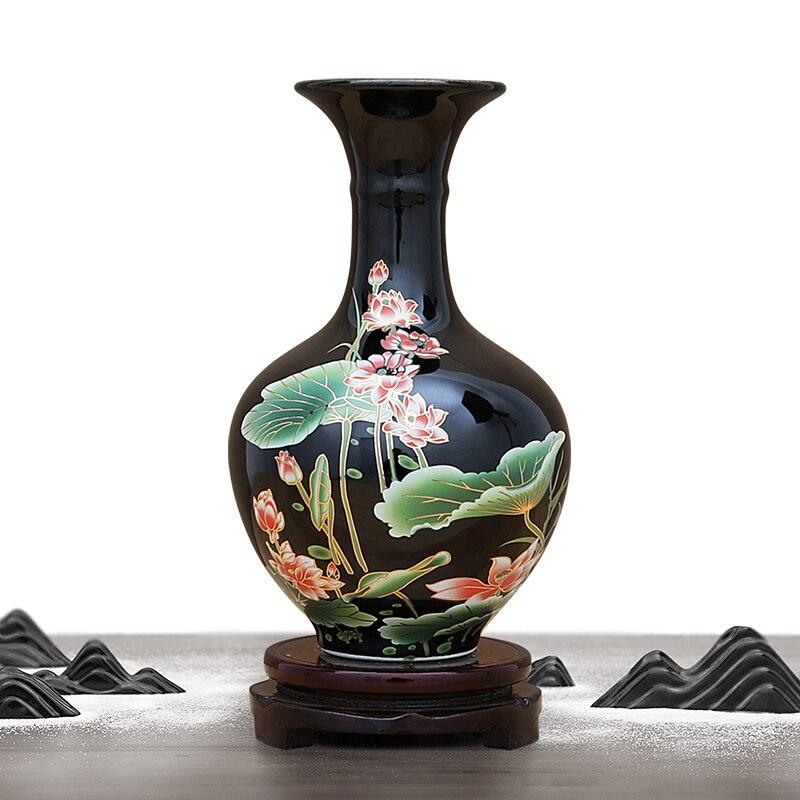 Цзиндэчжэнь керамическая ваза для цветов расположение Черный со стразами, блестящий ваза гостиная винный шкаф украшения ремесла