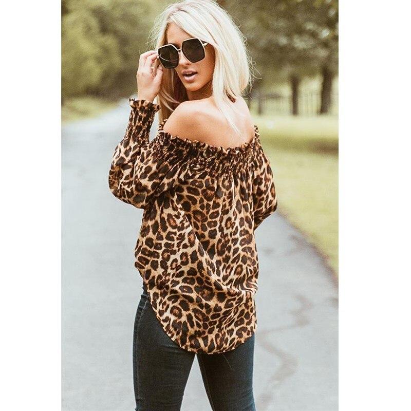 Camiseta de mujer nueva Sexy con estampado de leopardo y hombros descubiertos,...