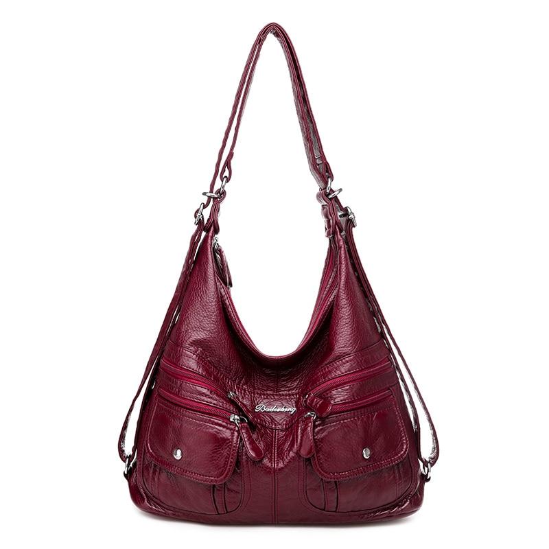Multifunction Luxury Handbags Women Bags Designer Vintage Casual Tote Bag Ladies Hand Bags Women Soft Leather Shoulder Bag Retro