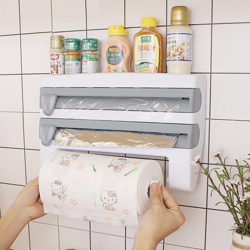 Soporte de película transparente para corte de cocina, papel de aluminio para corte de estante de almacenamiento, cortador de envoltorio, soporte de pared para papel de cocina, soporte de plástico para colgar