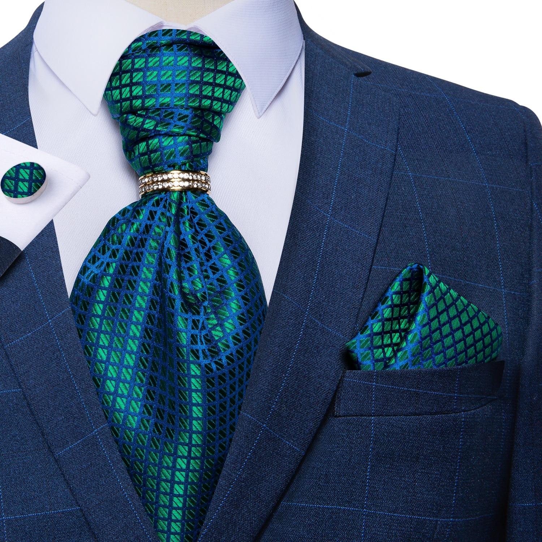 DiBanGu Men Vintage Green Blue Check 100% Silk Ascot Cravat Tie Handkerchief Cufflinks Ring 5pc Set Wedding Party Ascot Necktie