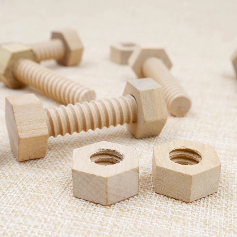 Educational Wooden Screw Nut Block Toy Assembling Matching Game Toy Natural Wood Hands-On Teaching Early Education Toys