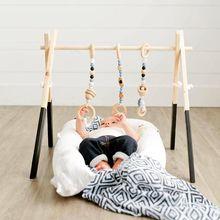 Styl skandynawski Baby Gym Play Frame przedszkole Sensory Ring-pull Toy drewniany niemowlę dziecko wieszak na ubrania wystrój pokoju dziecięcego Baby Gym Wood