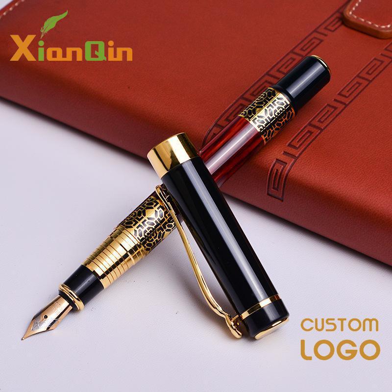 Pluma personalizada logotipo Oficina de lujo pluma estilográfica de Metal agradable sensación táctil escuela estudiante escritura bolígrafos 0,5mm