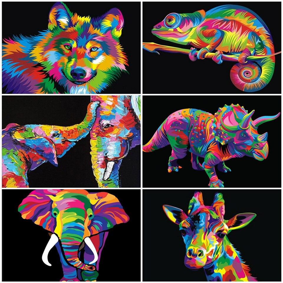 Azqsd pintura diy por número, animal, decoração de casa, pintura acrílica, presente exclusivo, colorida por números, lobo, presente artesanal