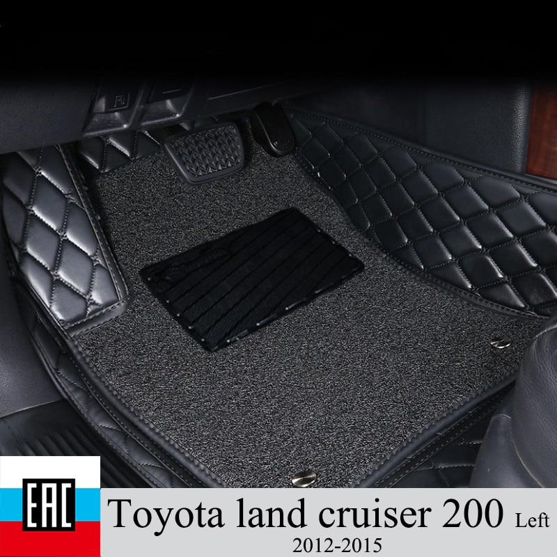 Esteiras do assoalho do carro para toyota land cruiser 200 2012-2015 esquerda volante e camada protetora laço de seda personalizado privado