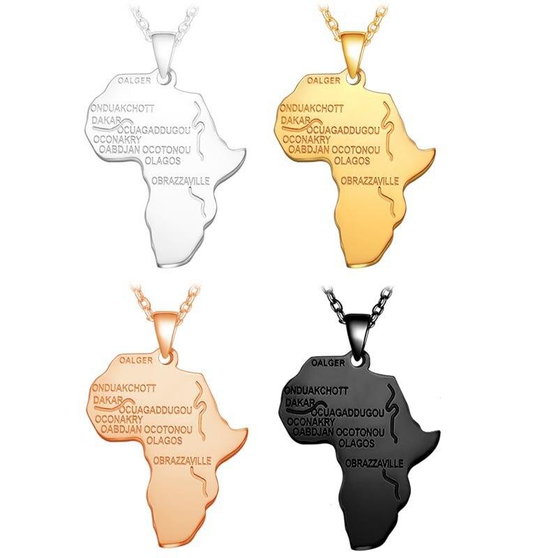 Afrika Karte Anhänger Halskette für Frauen Männer Gold Schwarz Rose Gold Silber Farbe Äthiopischen Hip-Hop Halsketten 20 Zoll