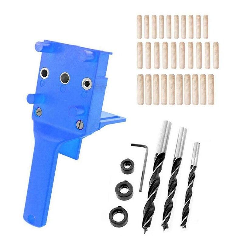 38 Uds. De mano agujero de bolsillo Jig taladro de mano pasador de carpintería Jig guía de perforación DIY Kit de herramientas