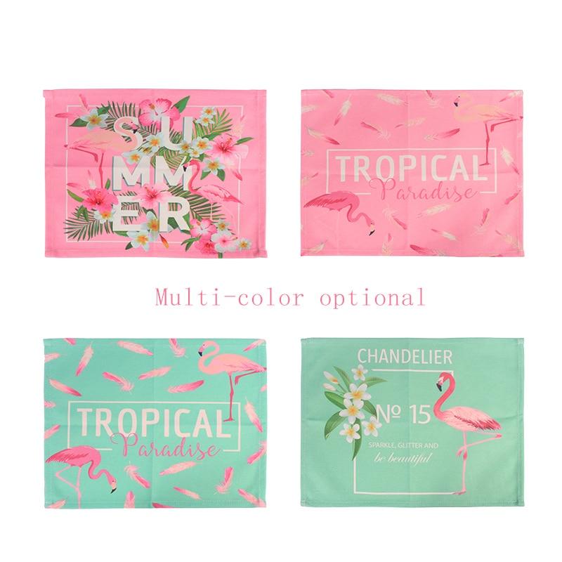 Almohadilla de lino para la mano, almohadilla para decoración de uñas en salón de manicura, colchoneta lavable de estilo japonés con estampado de flamenco rosa, 1 unidad