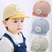 4 colors children little lion soft brim cap boys and girls sunscreen cotton sun hat beret hats baseball cap