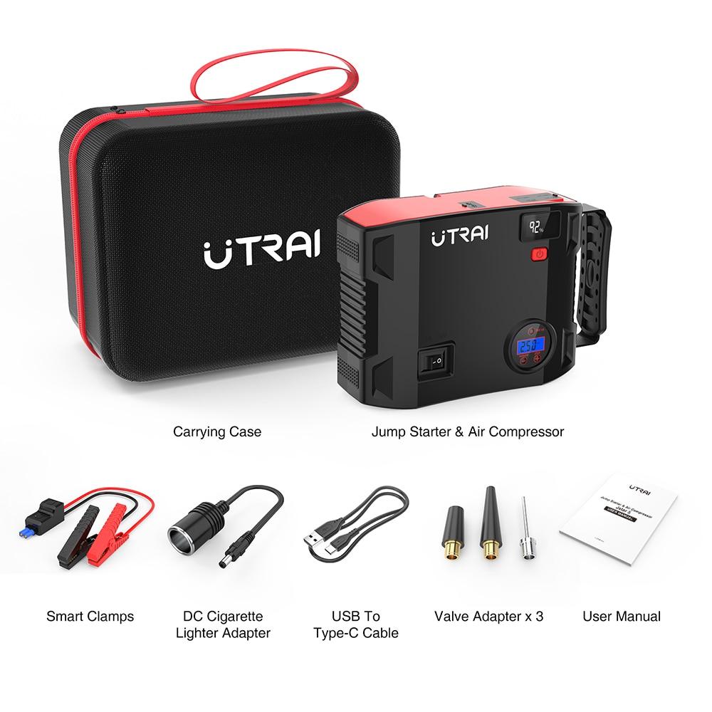 UTRAI Jstar 5 المحمولة متعددة الوظائف بطارية ليثيوم 2000A 24000mAh 12 فولت مع الإطارات مضخة ضغط مصباح يدوي للطوارئ أداة