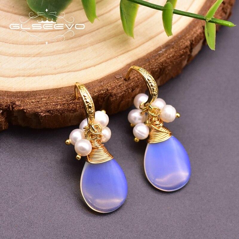 GLSEEVO Natural Opal Earring For Birthday Gift Fresh Water White Pearl Dangle Hook Earring For Girl Women's Fine Jewelry GE0929B