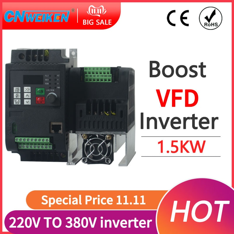 5.5KW 220V to 380V AC Single Phase Input 3 Phase Output Frequency Converter VFD Inverter Motor Speed Controller 50/60HZ